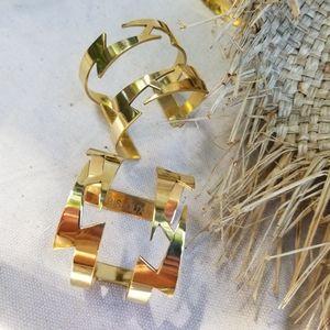 Solid brass cuff bracelet boho lightning bolt rod